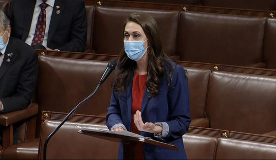 In this image from video, Rep. Jaime Herrera Beutler, R-Wash., speaks as the House debates the objection to confirm the Electoral College vote from Pennsylvania, at the U.S. Capitol early Thursday, Jan. 7, 2021. (House Television via AP)