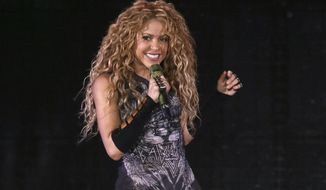 """FILE - This Aug. 10, 2018 file photo shows Shakira performing in concert at Madison Square Garden in New York. The Board of Hipgnosis Songs Fund Limited, a U.K.-based investment company, has acquired 100% of Grammy-winning superstar Shakira's music publishing rights.Hipgnosis made the announcement Wednesday. Shakira's catalog includes 145 songs, including """"Hips Don't Lie,"""" """"Whenever, Wherever,"""" """"La Tortura,"""" """"She Wolf"""" and """"Waka Waka (This Time for Africa).""""  (Photo by Greg Allen/Invision/AP, File)"""