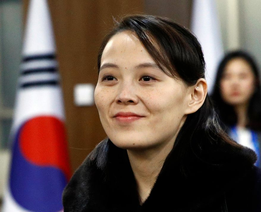 In this Feb. 9, 2018, file photo, Kim Yo-jong, sister of North Korean leader Kim Jong-un, arrives for the opening ceremony of the 2018 Winter Olympics in Pyeongchang, South Korea. (AP Photo/Patrick Semansky, Pool, File)