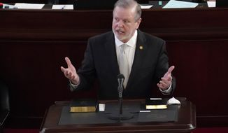 Senate President Pro Tempore Phil Berger, R-Rockingham speaks after being sworn in during the opening session of the North Carolina General Assembly in Raleigh, N.C., Wednesday, Jan. 13, 2021. (AP Photo/Gerry Broome)