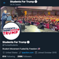 Students for Trump Twitter profile, screen captured from Twitter on Jan. 13, 2021. (Twitter.com/TrumpStudents)