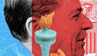 Illustration on Reagan's word on perpetuating liberty by Linas Garsys/The Washington Times