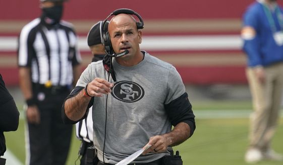 San Francisco 49ers defensive coordinator Robert Saleh is shown during an NFL football game against Arizona Cardinals, in Santa Clara, Calif., in this Sept. 13, 2020, file photo. The search for a new coach continues for the New York Jets after they completed an in-person interview with San Francisco 49ers defensive coordinator Robert Saleh on Wednesday, Jan. 13, 2021, without apparently reaching a deal.(AP Photo/Tony Avelar, File) **FILE**
