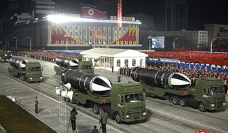 "This photo provided by the North Korean government shows missiles during a military parade marking the ruling party congress, at Kim Il Sung Square in Pyongyang, North Korea Thursday, Jan. 14, 2021. Independent journalists were not given access to cover the event depicted in this image distributed by the North Korean government. The content of this image is as provided and cannot be independently verified. Korean language watermark on image as provided by source reads: ""KCNA"" which is the abbreviation for Korean Central News Agency. (Korean Central News Agency/Korea News Service via AP)"