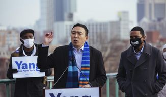 Andrew Yang announces his run for New York Mayor during a press conference in Morningside Park on Thursday, Jan. 14, 2021, in New York. (AP Photo/Kevin Hagen).  **FILE**