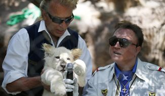 In this Thursday, July 17, 2014, file photo, Siegfried Fischbacher, left, holds up a white lion cub as Roy Horn holds up a microphone during an event to welcome three white lion cubs to Siegfried & Roy's Secret Garden and Dolphin Habitat, in Las Vegas. German news agency dpa is reporting that illusionist Siegfried Fischbacher, the surviving member of duo Siegfried & Roy has died in Las Vegas at age 81. The news agency said Thursday, Jan. 14, 2021 that Fischbacher's sister, a nun who lives in Munich, confirmed his death of cancer. (AP Photo/John Locher, File)