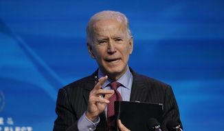 In this Jan. 8, 2021, file photo, President-elect Joe Biden speaks during an event at The Queen theater in Wilmington, Del.  (AP Photo/Susan Walsh)  **FILE**