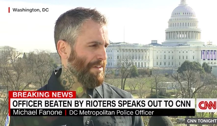 D.C. Metropolitan Police Officer Michael Fanone on Friday recalled getting beaten by a mob of angry Trump supporters. (Screengrab via CNN)