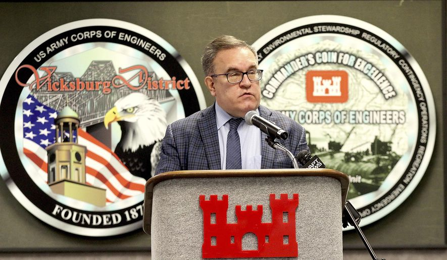 Environmental Protection Agency Administration Andrew R. Wheeler speaks during a press conference Monday, Jan. 11, 2021, organized by the Environmental Protection Agency at the U.S. Army Corps of Engineers Vicksburg District facility in Vicksburg, Miss. (Tim Reeves/The Vicksburg Post via AP) **FILE**