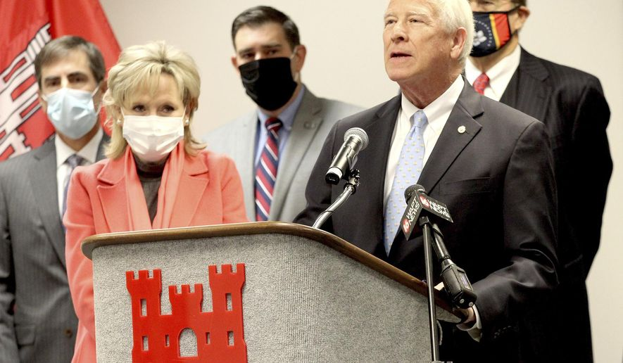 U.S. Sen. Cindy Hyde-Smith and U.S. Sen. Roger Wicker speak during a press conference Monday, Jan. 11, 2021, organized by the Environmental Protection Agency at the U.S. Army Corps of Engineers Vicksburg District facility in Vicksburg, Miss. (Tim Reeves/The Vicksburg Post via AP)