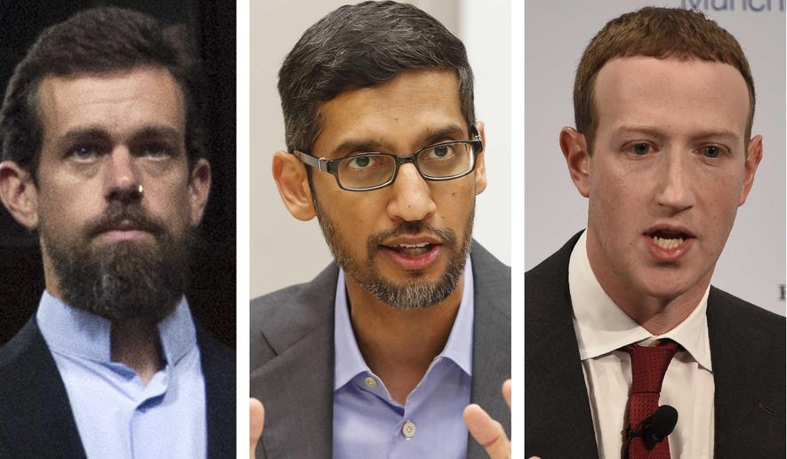 This combination of photos shows (from left) Twitter CEO Jack Dorsey, Google CEO Sundar Pichai and Facebook CEO Mark Zuckerberg. (AP Photo/Jose Luis Magana, LM Otero, Jens Meyer) **FILE**
