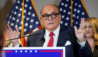 In this Nov. 19, 2020, file photo, former New York Mayor Rudy Giuliani, a lawyer for President Donald Trump, speaks during a news conference at the Republican National Committee headquarters, in Washington (Associated Press)
