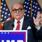 In this Nov. 19, 2020, file photo, former New York Mayor Rudy Giuliani, a lawyer for President Donald Trump, speaks during a news conference at the Republican National Committee headquarters, in Washington (Associated Press) ** FILE **