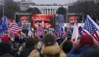 In this Jan. 6, 2021, file photo, Trump supporters participate in a rally in Washington. An AP review of records finds that members of President Donald Trumps failed campaign were key players in the Washington rally that spawned a deadly assault on the U.S. Capitol last week. (AP Photo/John Minchillo)