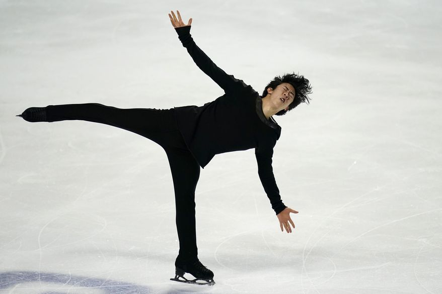 Nathan Chen performs during the men's free skate at the U.S. Figure Skating Championships, Sunday, Jan. 17, 2021, in Las Vegas. (AP Photo/John Locher)