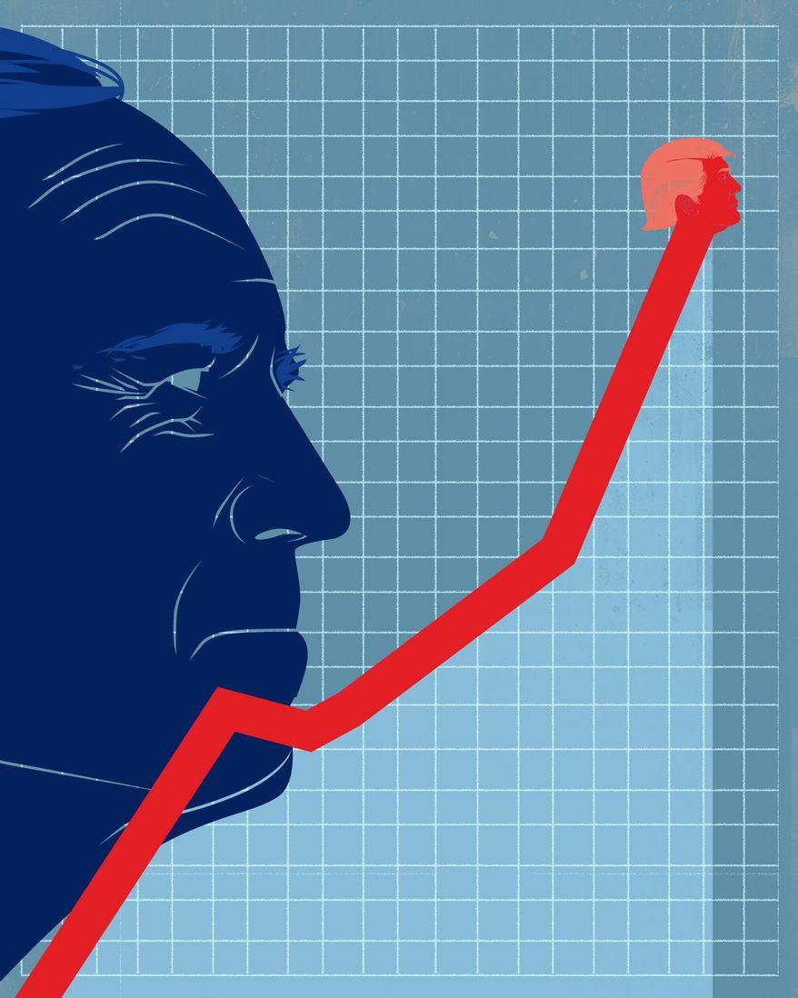 Biden and Trump economy illustration by The Washington Times