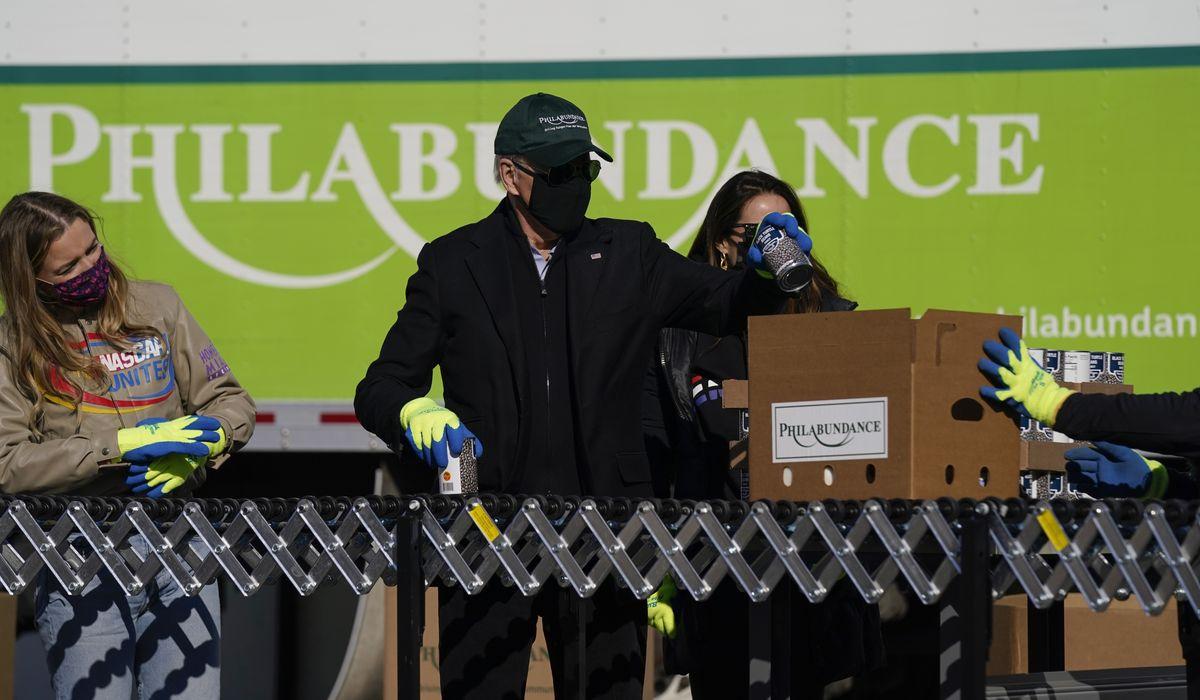 Biden spends MLK Day volunteering at Philly food bank