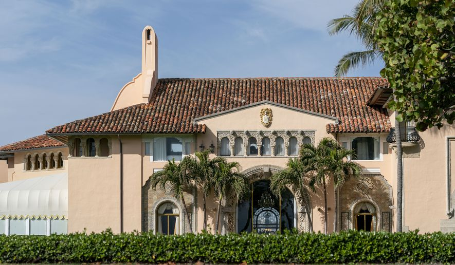 Mar-a-Lago in Palm Beach, Fla., is seen on Monday, Jan. 18, 2021. President Donald Trump returned to his residence on Wednesday, Jan. 20. (Greg Lovett/The Palm Beach Post via AP) ** FILE **