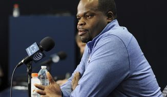 FILE - In this Aug. 5, 2017, file photo, then-Penn State special teams coordinator Charles Huff speaks to reporters during the NCAA college football team's media day in State College, Pa. Marshall has given Alabama's Huff his first head coaching job. Marshall announced Huff's hiring Sunday, Jan. 17, 2021. (Phoebe Sheehan/Centre Daily Times via AP, File)