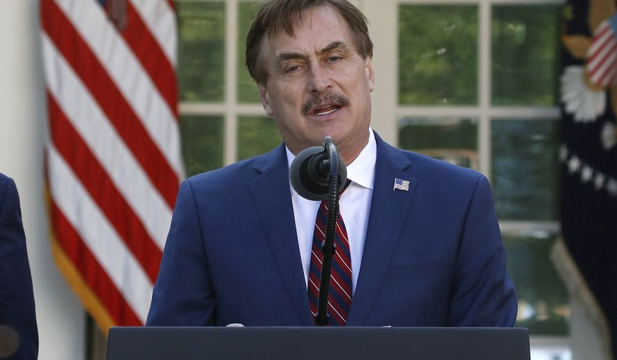 In this March 30, 2020, file photo, My Pillow CEO Mike Lindell speaks about the coronavirus in the Rose Garden of the White House in Washington. (AP Photo/Alex Brandon)
