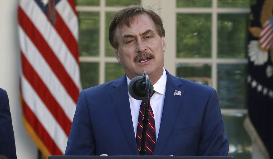 In this March 30, 2020 file photo, My Pillow CEO Mike Lindell speaks about the coronavirus in the Rose Garden of the White House in Washington. (AP Photo/Alex Brandon)