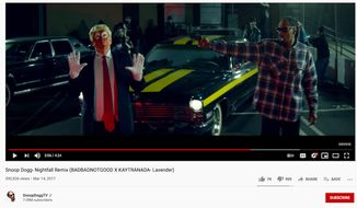 """Snoop Dogg appears in his the video for """"Nightfall Remix (BADBADNOTGOOD X KAYTRANADA- Lavender)"""" in 2017. (Image: YouTube, SnoopDoggTV landing page, video screenshot)"""