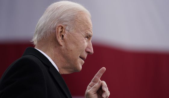 """President-elect Joe Biden speaks at the Major Joseph R. """"Beau"""" Biden III National Guard/Reserve Center, Tuesday, Jan. 19, 2021, in New Castle, Del. Its a Twitter users worst nightmare: Wake up to find most of your followers gone. But thats exactly what will happen on Wednesday, Jan. 20, 2021, to the official presidential accounts on Twitter. (AP Photo/Evan Vucci)"""