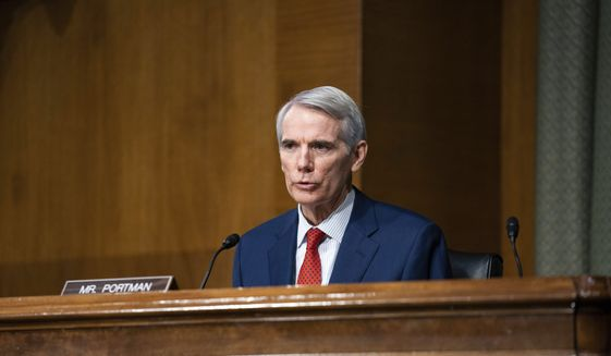 Sen. Rob Portman, R-Ohio, speaks during a confirmation hearing for Treasury Secretary-nominee Janet Yellen before the Senate Finance Committee on Capitol Hill, Tuesday, Jan. 19, 2021, in Washington. (Anna Moneymaker/The New York Times via AP, Pool) ** FILE **