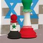 Israeli strikes on Iranian targets in Syria illustration by Linas Garsys / The Washington Times