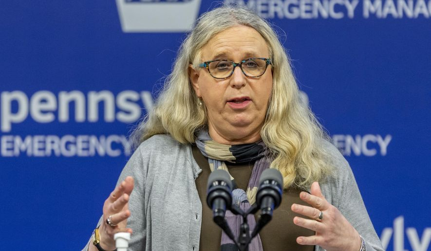 In this May 29, 2020, file photo, then-Pennsylvania Secretary of Health Dr. Rachel Levine meets with the media at the Pennsylvania Emergency Management Agency (PEMA) headquarters in Harrisburg, Pa. President-elect Joe Biden has tapped Levine to be his assistant secretary of health, leaving her poised to become the first openly transgender federal official to be confirmed by the U.S. Senate. (Joe Hermitt/The Patriot-News via AP, File)