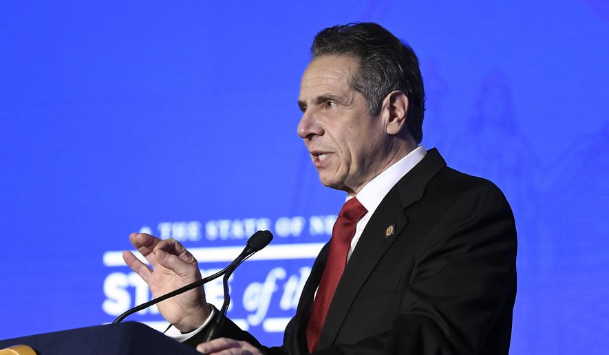 New York Gov. Andrew Cuomo delivers his State of the State address virtually from The War Room at the state Capitol, Monday, Jan. 11, 2021, in Albany, N.Y. (AP Photo/Hans Pennink, Pool) **FILE**