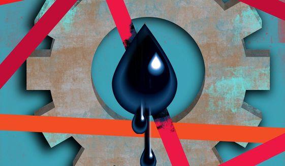 Keystone XL Pipeline and Biden illustration by Linas Garsys / The Washington Times