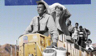 Biden's immigration caravan illustration by Linas Garsys / The Washington Times