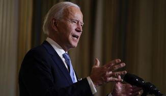President Joe Biden speaks during a virtual swearing in ceremony of political appointees from the State Dining Room of the White House on Wednesday, Jan. 20, 2021, in Washington.(AP Photo/Evan Vucci)