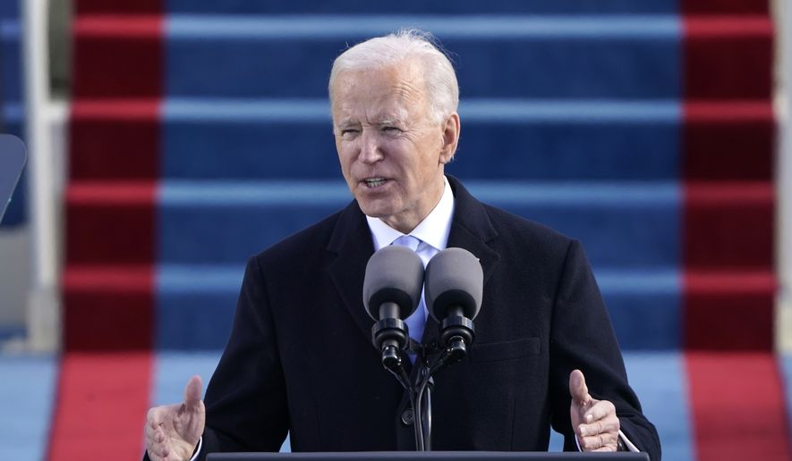 President Joe Biden speaks during the 59th Presidential Inauguration at the U.S. Capitol in Washington, Wednesday, Jan. 20, 2021. (AP Photo/Patrick Semansky, Pool)