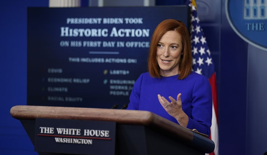 White House press secretary Jen Psaki speaks during her first press briefing at the White House, Wednesday, Jan. 20, 2021, in Washington. (AP Photo/Evan Vucci)