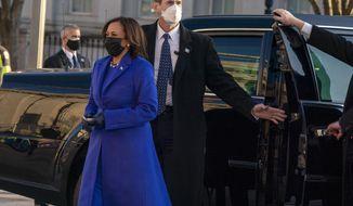 Vice President Kamala Harris steps off her vehicle to walk on Pennsylvania Avenue to the White House during inauguration ceremonies, Wednesday Jan. 20, 2021, in Washington. (AP Photo/Jose Luis Magana)