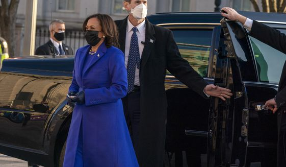 Vice President Kamala Harris steps off her vehicle to walk on Pennsylvania Avenue to the White House during inauguration ceremonies, Wednesday Jan. 20, 2021, in Washington. (AP Photo/Jose Luis Magana)