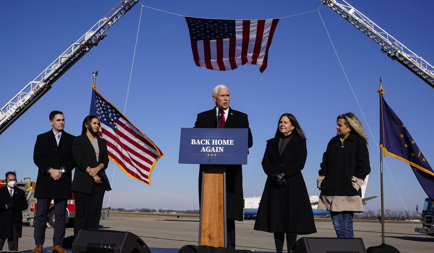 Former Vice President Mike Pence speaks after arriving back in his hometown of Columbus, Ind., Wednesday, Jan. 20, 2021.  (AP Photo/Michael Conroy)  **FILE**