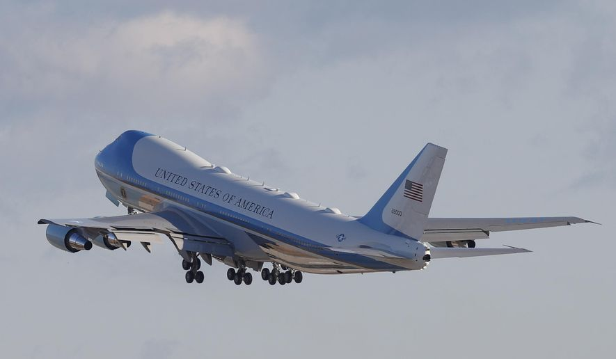 Air Force One with President Donald Trump and the first family on board, departs Andrews Air Force Base, Md., Wednesday, Jan. 20, 2021.(AP Photo/Luis M. Alvarez) **FILE**