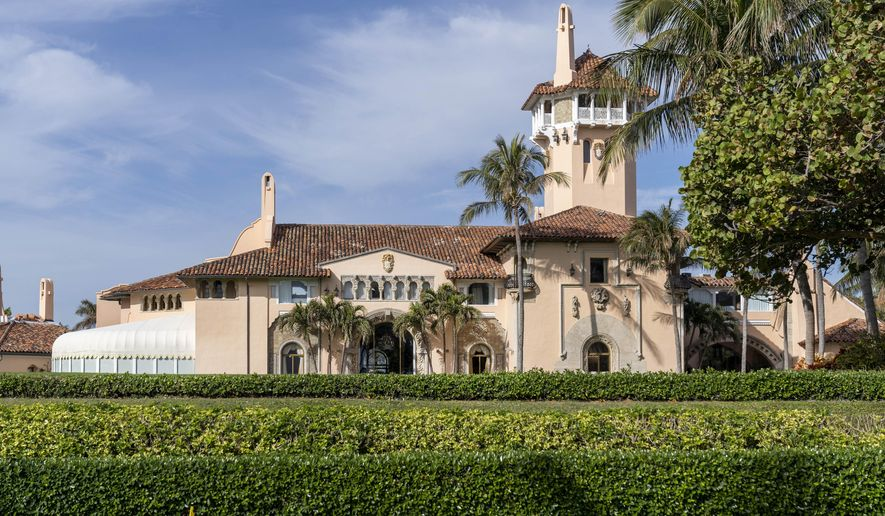 Mar-a-Lago in Palm Beach, Fla., is seen on Monday, Jan. 18, 2021. President Donald Trump is expected to return to his residence on Wednesday, Jan. 20. (Greg Lovett/The Palm Beach Post via AP)