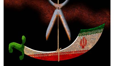 Illustration on Iran's situation by Alexander Hunter /The Washington Times