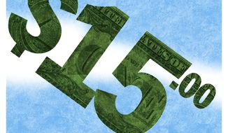 Illustration on the proposed national minimum wage by Alexander Hunter/The Washington Times