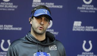 In this Wednesday, Jan. 2, 2019, file photo, Indianapolis Colts offensive coordinator Nick Sirianni speaks during a news conference at the NFL football team's facility in Indianapolis. The Philadelphia Eagles are nearing a deal to hire Nick Sirianni to be their head coach, according to two people familiar with the decision. Both people spoke to The Associated Press Thursday, Jan. 21, 2021, on condition of anonymity because the team hasn't officially announced the hiring.  (AP Photo/Darron Cummings, File) **FILE**