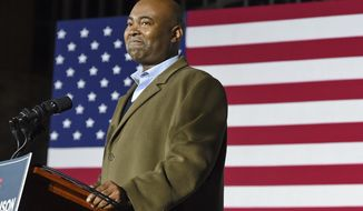 In this Nov. 3, 2020, file photo Democratic Senate candidate Jaime Harrison speaks at a watch party in Columbia, S.C., after losing the Senate race. Harrison now leads up the Democratic National Committee. On April 28, 2021, he announced the DNC plans to spend $20 million for the 2022 congressional midterm campaign season. (AP Photo/Richard Shiro, File)  **FILE**
