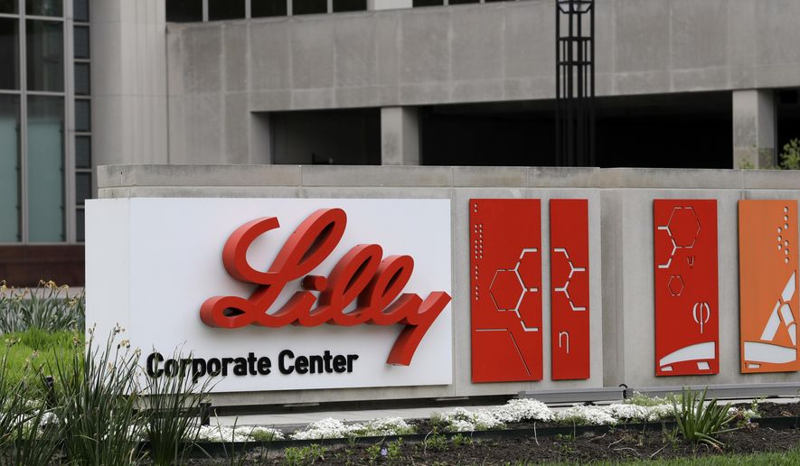 This April 26, 2017, file photo shows the Eli Lilly & Co. corporate headquarters in Indianapolis. (AP Photo/Darron Cummings, File)