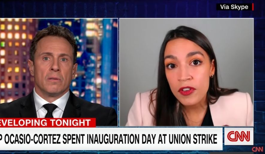 Rep. Alexandria Ocasio-Cortez discusses her absence at President Joseph R. Biden's inauguration. The New York Democrat told CNN's Chris Cuomo that she doesn't feel safe around Republican lawmakers, Jan. 21, 2021. (Image: YouTube, CNN video screenshot)