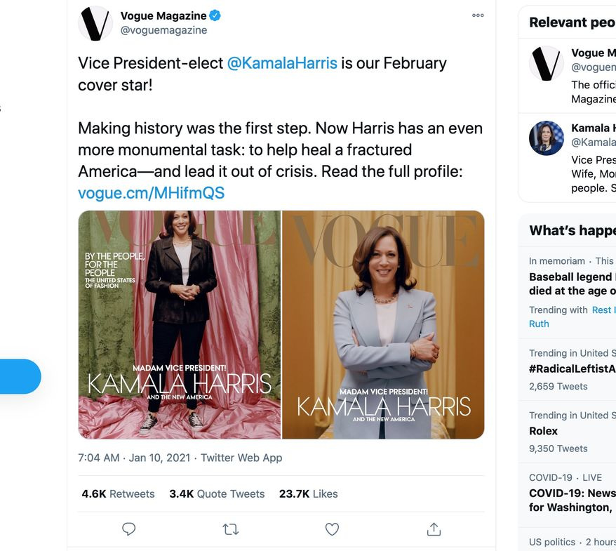Vice President Kamala Harris will get a new cover by Vogue Magazine after critics complained the originals lightened her skin and were too casual. (Image: Twitter, Vogue Magazine)