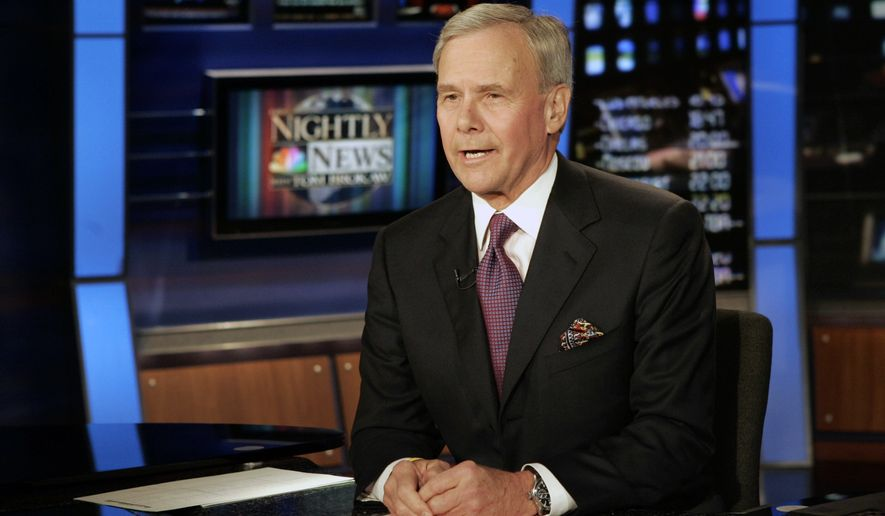 """""""NBC Nightly News"""" anchor Tom Brokaw delivers his closing remarks during his final broadcast, in New York on Dec. 1, 2004. Brokaw says he is retiring from NBC News after working at the network for 55 years. The author of """"The Greatest Generation"""" is now 80 years old and his television appearances have been limited in recent years as he fought cancer. He says he will continue writing books and articles. (AP Photo/Richard Drew, File)"""