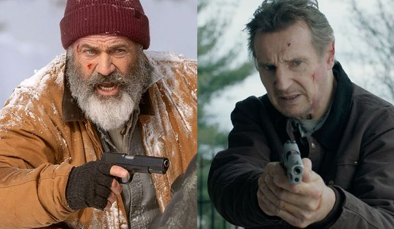 """Mel Gibson in """"Fatman"""" and Liam Neeson in """"Honest Thief,"""" now available in the Blu-ray format."""
